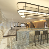 Lobby Bar of Wilshire grand rendering