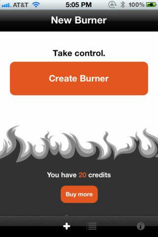 A screenshot of new iPhone app Burner.