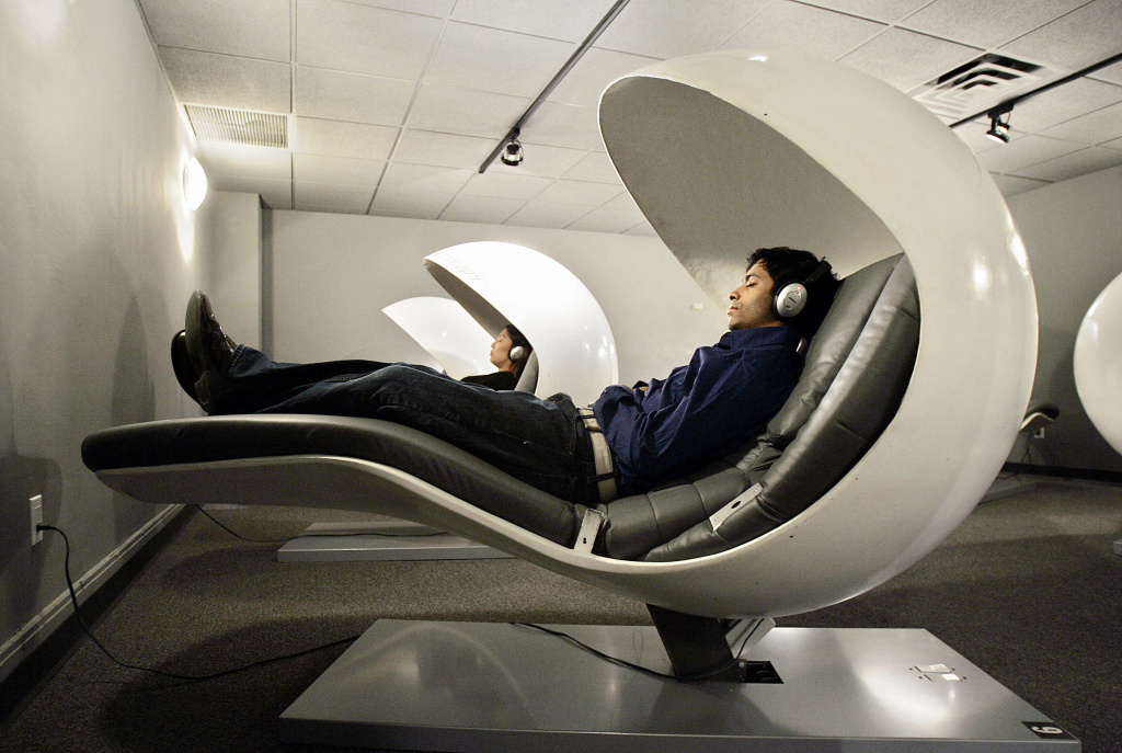 office nap pod. Metronaps CEO Arshad Chowdhury R And Another Employee Demostrate Sleeping Office Nap Pod