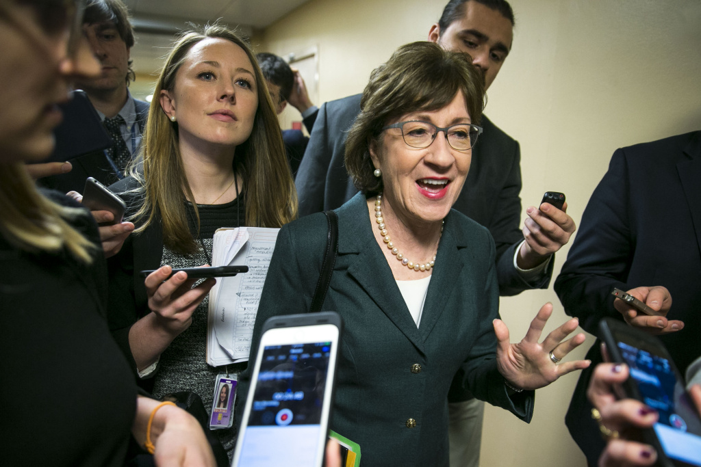 U.S. Sen. Susan Collins (R-ME) speaks with reporters as she arrives for the weekly Senate Republican's policy luncheon, on Capitol Hill, December 12, 2017 in Washington, DC.
