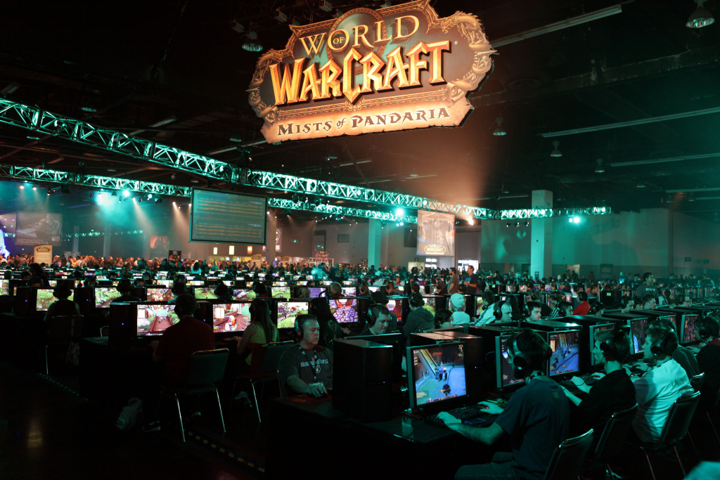 Players and fans from around the world play World of Warcraft: Mists of Pandaria at BlizzCon 2011 in Anaheim on Friday, Oct. 21, 2011.
