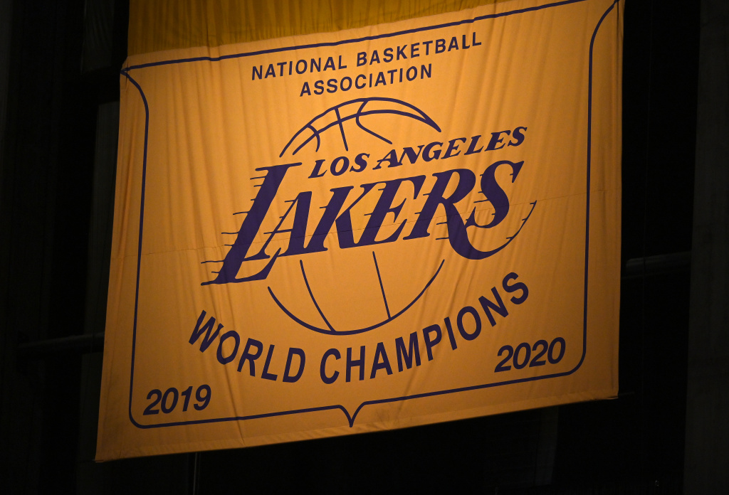 Banner unveiled for the 2020 NBA Championship at Staples Center on May 12, 2021 in Los Angeles, California.
