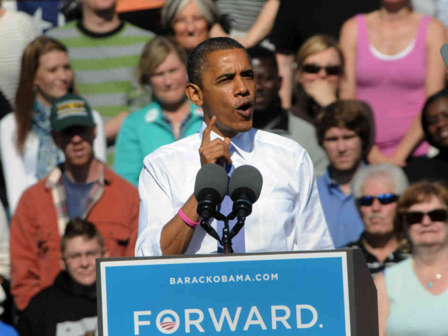 During a campaign speech at Veterans Memorial Park in Manchester, N.H., Oct. 18, President Obama once again embraced the term