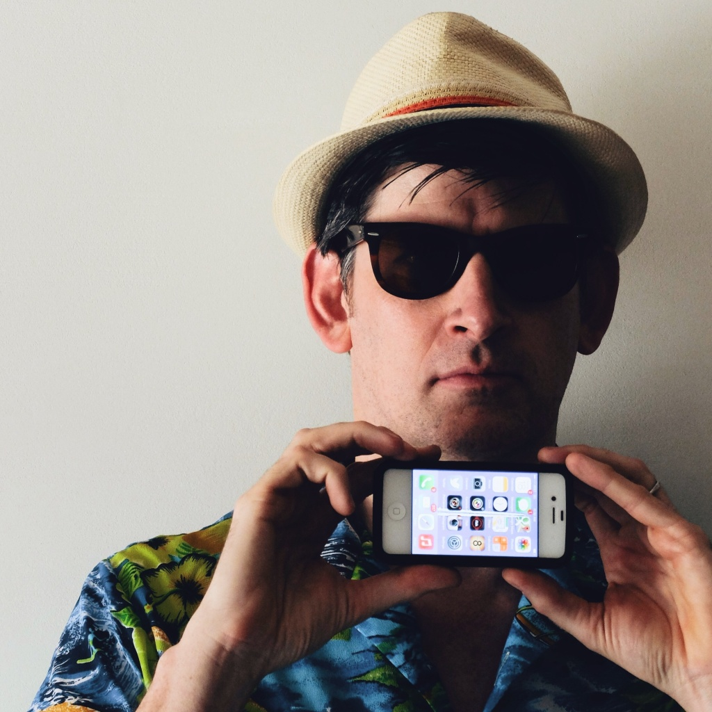Off-Ramp host John Rabe and his iPhone, photographed in downtown LA's Ace Hotel by Instagram photog @brandenwinter.