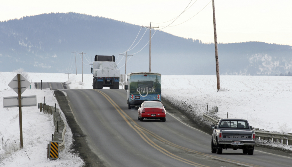 A 14-passenger Citylink bus travels down Highway 95 on the Coeur d' Alene Indian Reservation, December 15, 2005 north of Tensed in Kootenai County Idaho.