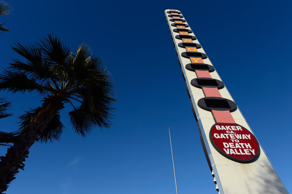 The world's tallest thermometer is displayed on January 7, 2013 in Baker, California. T