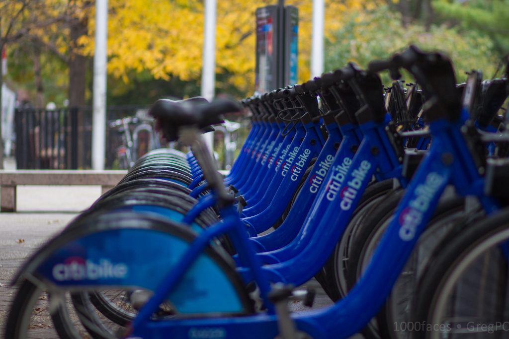 A row of Citibikes, the bike sharing program in New York City. Los Angeles has plans to roll out a bike sharing program in 2016.