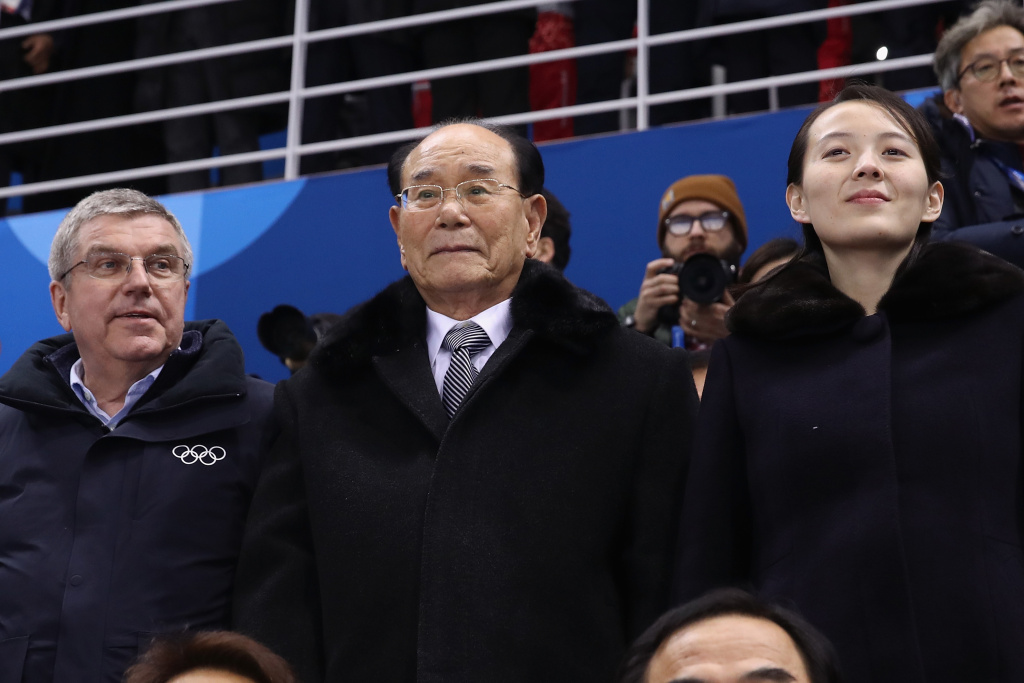 IOC President Thomas Bach, North Korean ceremonial head of state Kim Yong Nam and Kim Yo-jong, sister of North Korean leader Kim Jong-un, attend the Women's Ice Hockey game between Switzerland and Korea on day one of the PyeongChang 2018 Winter Olympic Games on February 10, 2018.