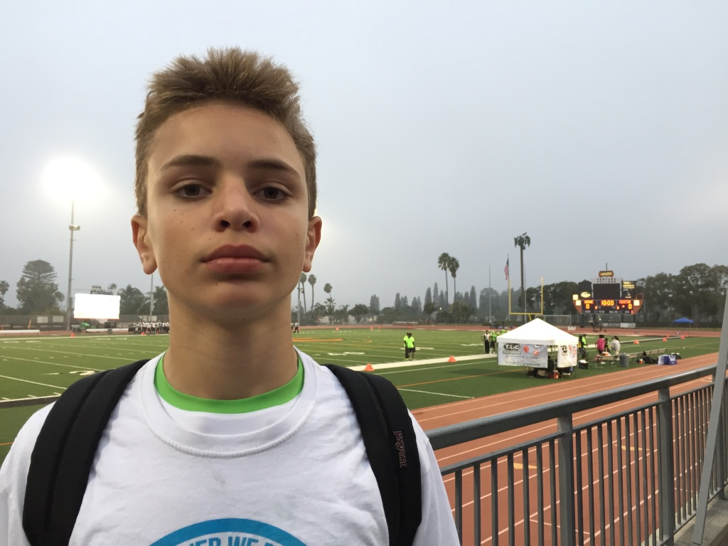Peter Boehm, 14-year-old quarterback of the Pop Warner L.A. Valley Seahawks, said he wants to play football in the NFL and be a Hall-of-Famer. His father is proud, while noting,