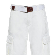 A pair of white cargo shorts.