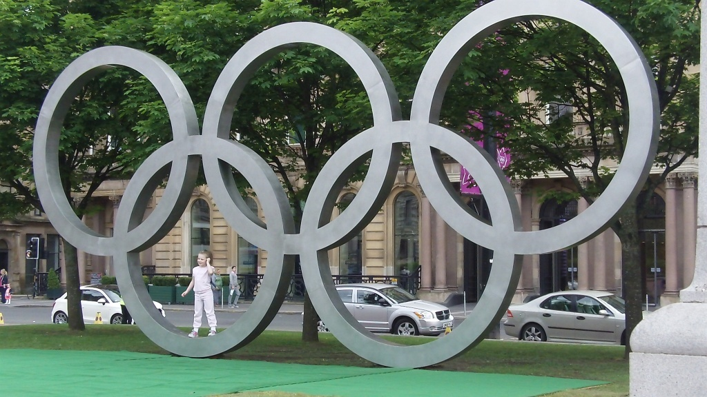 Olympic Rings newly installed on George Square, Glasgow. Thursday 31st May 2012.
