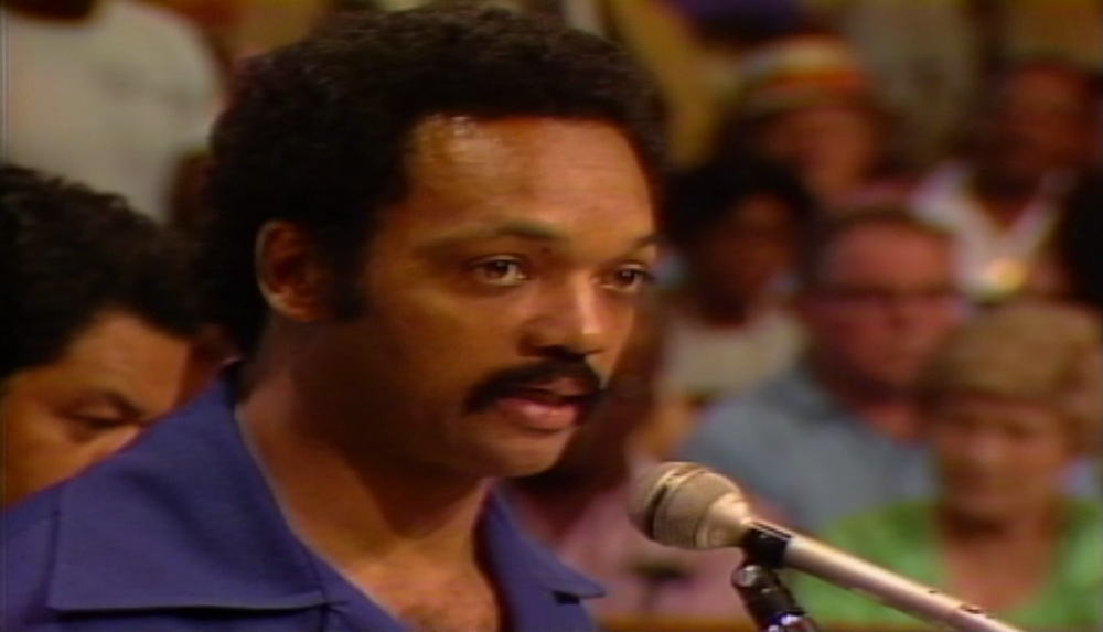 The Reverend Jesse Jackson speaks before the L.A. City Council on September 15, 1982, in favor of renaming Santa Barbara Av to Martin Luther King Jr Blvd.