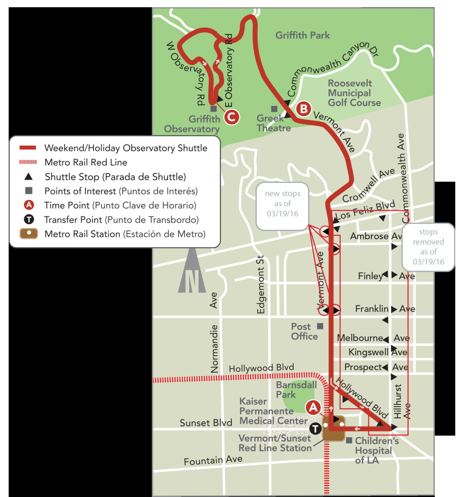 A map of the existing DASH shuttle service to Griffith Park from the Red Line Metro station at Vermont Avenue The service will expand from weekends only to seven-days-a-week on March 19.