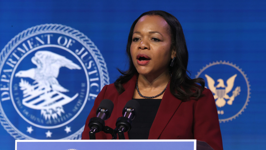 Kristen Clarke delivers remarks after being nominated to be civil rights division assistant attorney general by then-President-elect Joe Biden on Jan. 7. Her confirmation hearing is on Wednesday.