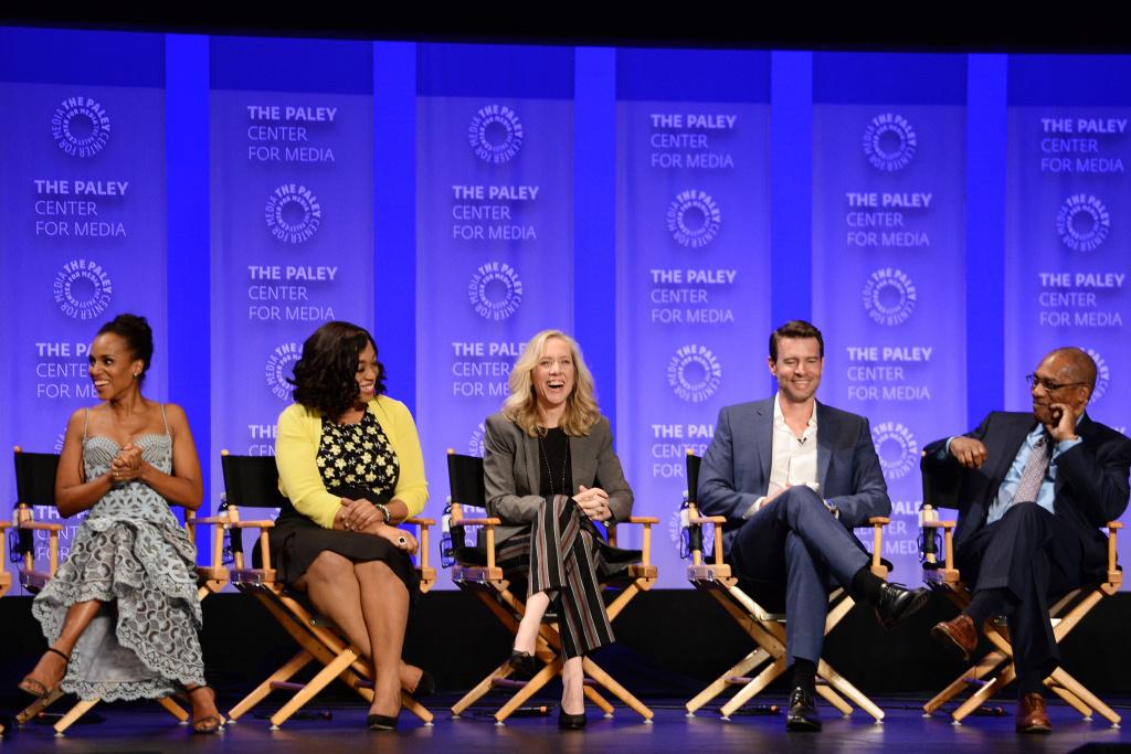 (L-R) Actress Kerry Washington, executive producer Shonda Rhimes, executive producer Betsy Beers, actors Scott Foley and Joe Morton from