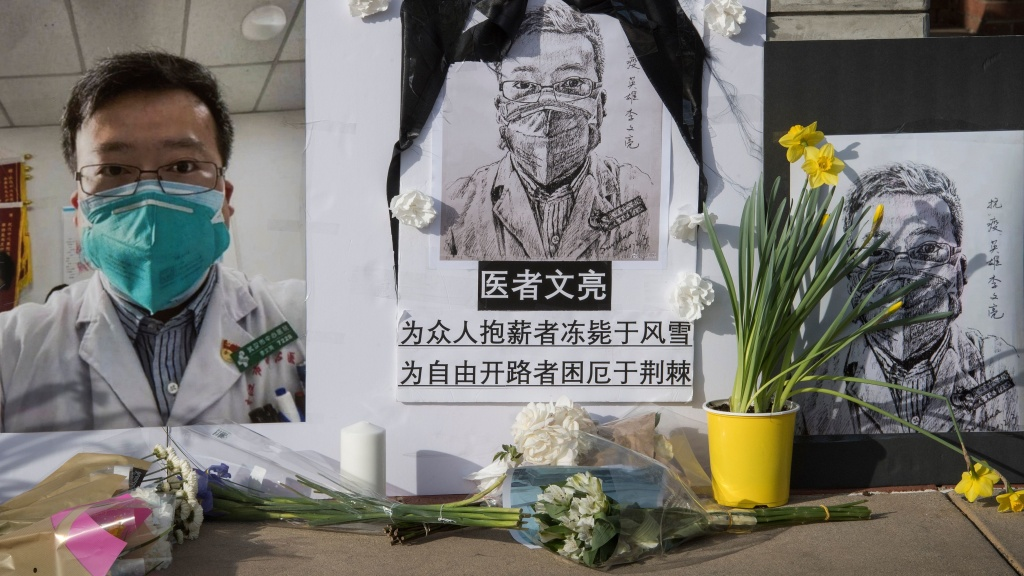 A memorial pays tribute to Dr. Li Wenliang, who called attention to the coronavirus in China, on UCLA's campus in February in Westwood, Calif. The doctor's widow, Fu Xuejie, announced the birth of their boy on Friday.