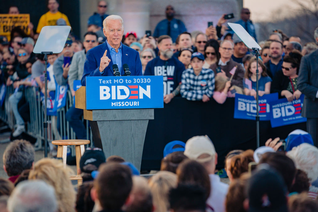 Democratic Presidential Candidate former Vice President Joe Biden speaks to a full crowd during the Joe Biden Campaign Rally at the National World War I Museum and Memorial on March 7, 2020 in Kansas City, Missouri.