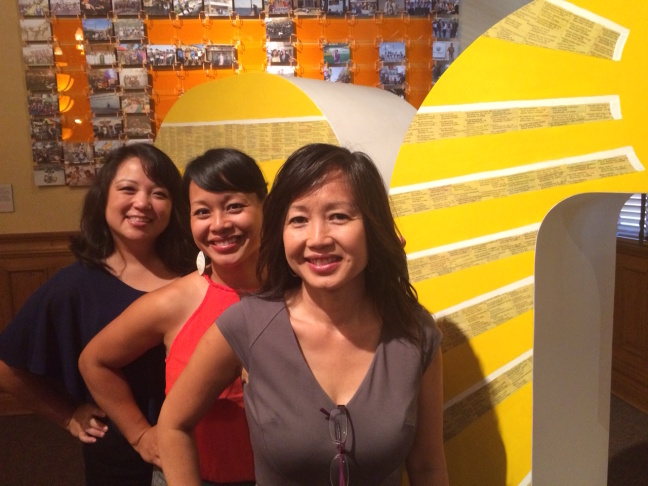 Tram Le, Co-Director/Co-Curator,  Trinh Mai, Exhibition Designer & Artist-in-Residence and Linda Trinh Vo, Co-Director/Co-Curator at the new art show, Vietnamese Focus, at the Old Orange County Courthouse.