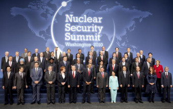 World leaders and heads of delegations participate in a group photo at the Nuclear Security Summit at the Washington Convention Center April 13, 2010 in Washington, DC.