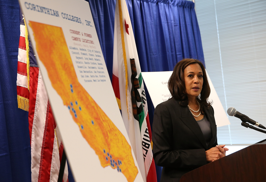 File photo: California Attorney General Kamala Harris announced the filing of a lawsuit against the for-profit Corinthian Colleges and its subsidiaries for alleged false advertising, securities fraud, intentional misrepresentations to students and the unlawful use of military insignias in advertisements on October 10, 2013 in San Francisco, California. The company and the Education Department failed to meet a deadline Tuesday to map out the future of the company's more than 100 campuses.