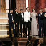 "Producer Fred Berger and the cast and crew of ""La La Land"" accept the award for Best Motion Picture - Musical or Comedy onstage during the 74th Annual Golden Globe Awards."