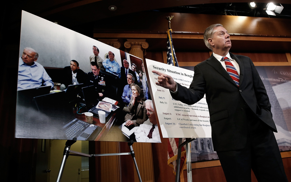 Sen. Lindsey Graham (R-SC), refers to a photograph made during the Osama bin Laden raid, while speaking during a press conference on 'unanswered questions that remain about Benghazi' May 15, 2014 at the U.S. Capitol in Washington, DC. Four Americans died during the attack on the U.S. compound in Benghazi, Libya September 11, 2012.