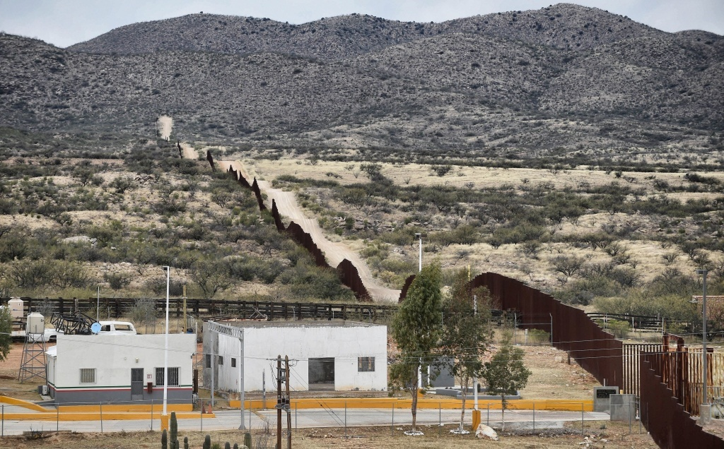 President Trump has signed an order to begin building a new wall along the border line between Mexico and the U.S. Here, the border is seen from the community of Sasabe in Sonora state, Mexico, earlier this month.