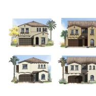 Schematics of the Spanish and Mediterranean-style homes that Chinese developer Landsea has planned in Simi Valley.
