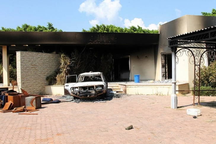 A vehicle and the surrounding area are engulfed in flames after it was set on fire inside the U.S. consulate compound in Benghazi late on Sept. 11, 2012. An armed mob protesting over a film they said offended Islam, attacked the U.S. consulate in Benghazi and set fire to the building, killing one American, witnesses and officials said.