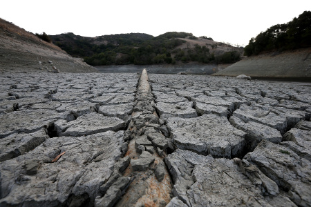A pipe emerges from dried and cracked earth that used to be the bottom of the Almaden Reservoir  on January 28, 2014 in San Jose, California. Now in its third straight year of drought conditions, California is experiencing its driest year on record, dating back 119 years, and reservoirs throughout the state have low water levels. California Gov. Jerry Brown officially declared a drought emergency to speed up assistance to local governments, streamline water transfers and potentially ease environmental protection requirements for dam releases.