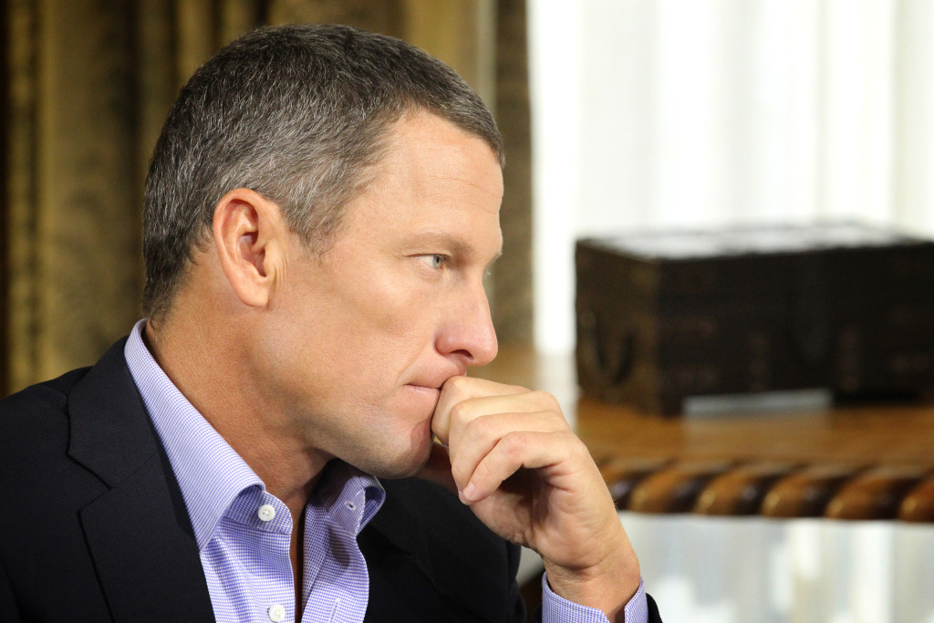 In this handout photo provided by the Oprah Winfrey Network, Oprah Winfrey (not pictured) speaks with Lance Armstrong during an interview regarding the controversy surrounding his cycling career January 14, 2013 in Austin, Texas.