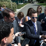 White House Communications Director Anthony Scaramucci talks with the media outside the White House in Washington, DC on July 25, 2017.