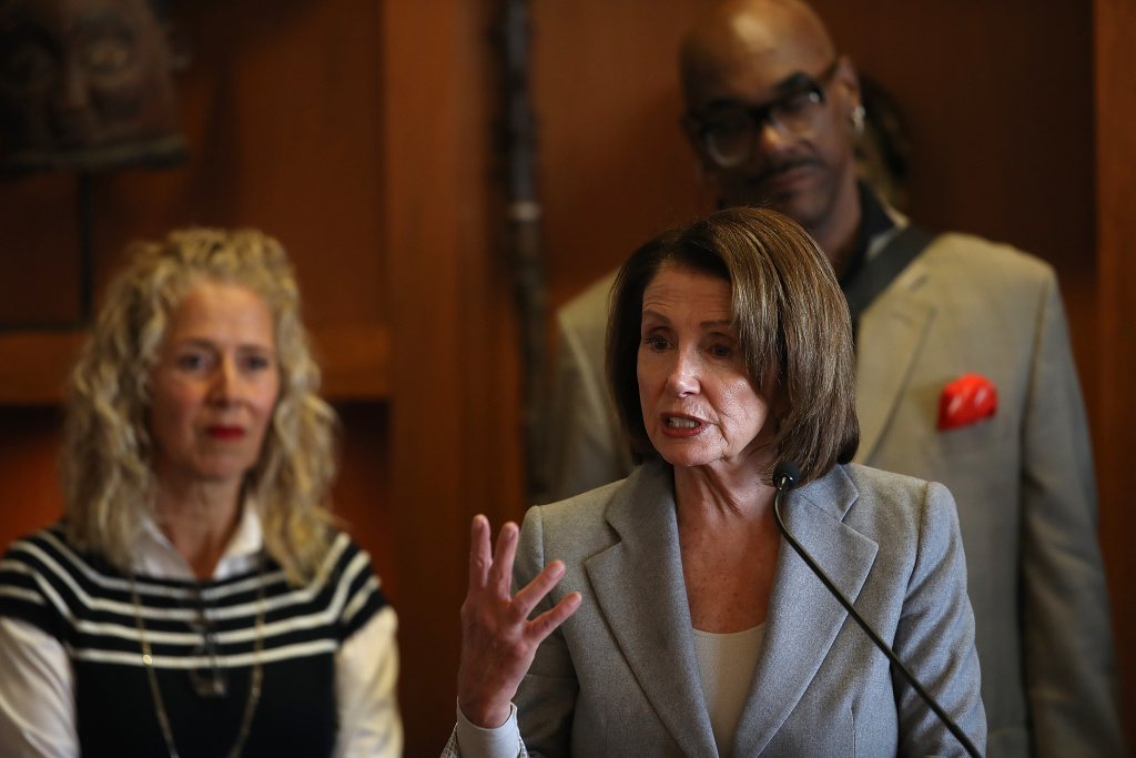 House Minority Leader Nancy Pelosi speaks during a press conference at the Dr. George W. Davis Senior Center on February 21, 2018 in San Francisco, California.