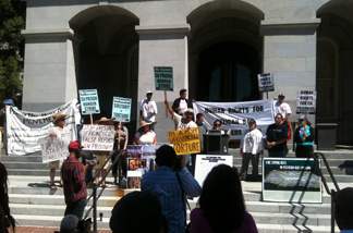 Demonstrators protested outside the state capitol against the California Department of Corrections' policies of isolating inmates at Pelican Bay State Prison on Tuesday, August 23, 2011.