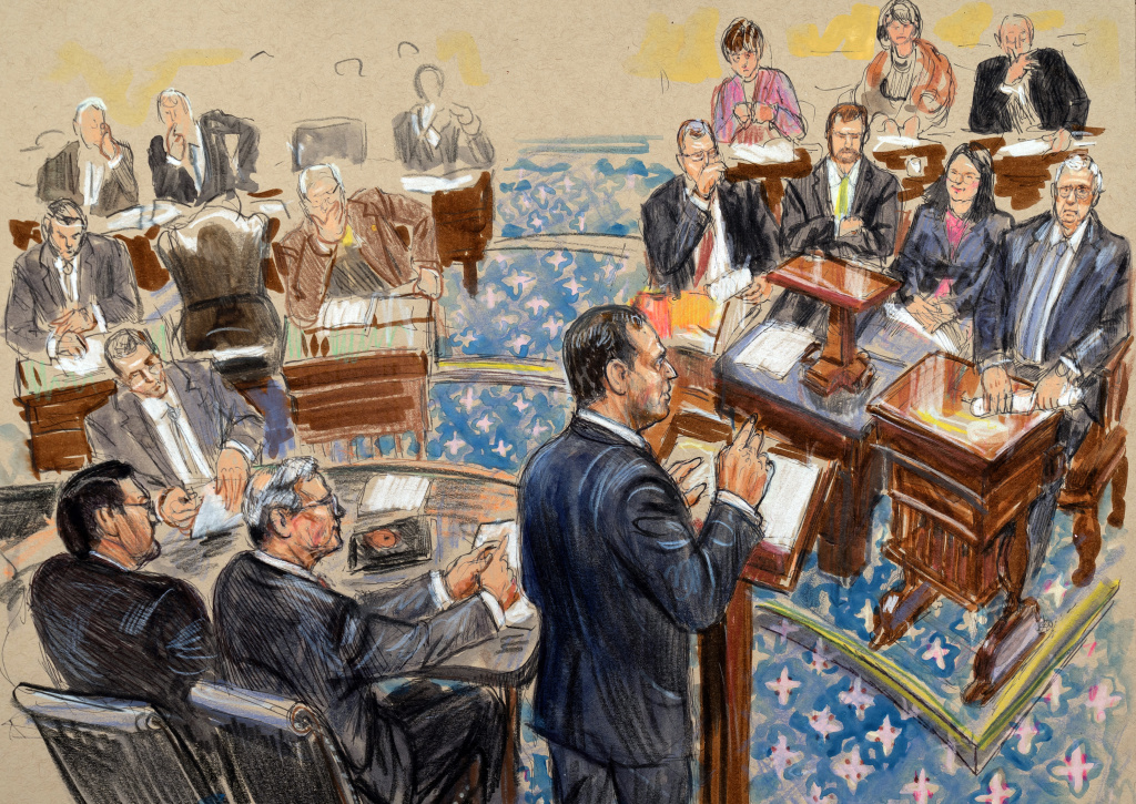 An artist sketch depicts impeachment manager Rep. Adam Schiff, D-Calif., presenting an argument in the impeachment trial of President Trump in the Senate chamber on Wednesday. Schiff and the other managers will continue their opening arguments on Thursday.