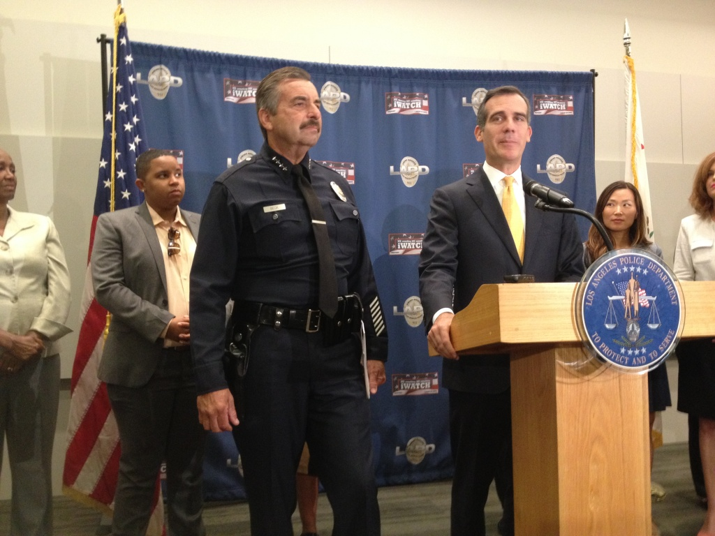 LAPD Chief Charlie Beck and Mayor Eric Garcetti discuss the crime stats for the first half of 2015.