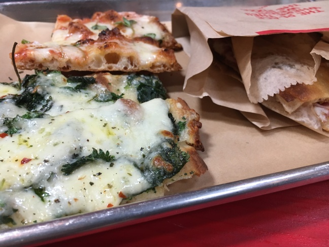 Nettle pizza (front), Margherita pizza (back)