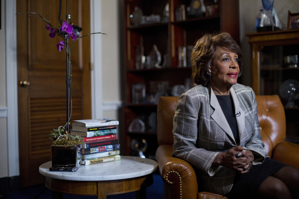 This photo taken on Thursday, March 23, 2017, shows Rep. Maxine Waters, D-Calif., as she speaks during her interview with the Associated Press at her congressional office on Capitol Hill in Washington. Waters has served in Congress for a quarter-century. Now she's turned into the passionate voice of resistance against the Trump administration. (AP Photo/Pablo Martinez Monsivais)
