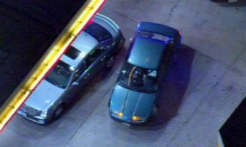 The carjacker pulled up within feet of another vehicle at the Shell gas station near Wilshire and Vermont