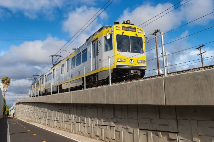 A test train travels west of Bundy in Santa Monica along the new Expo Line extension on May 6, 2016.
