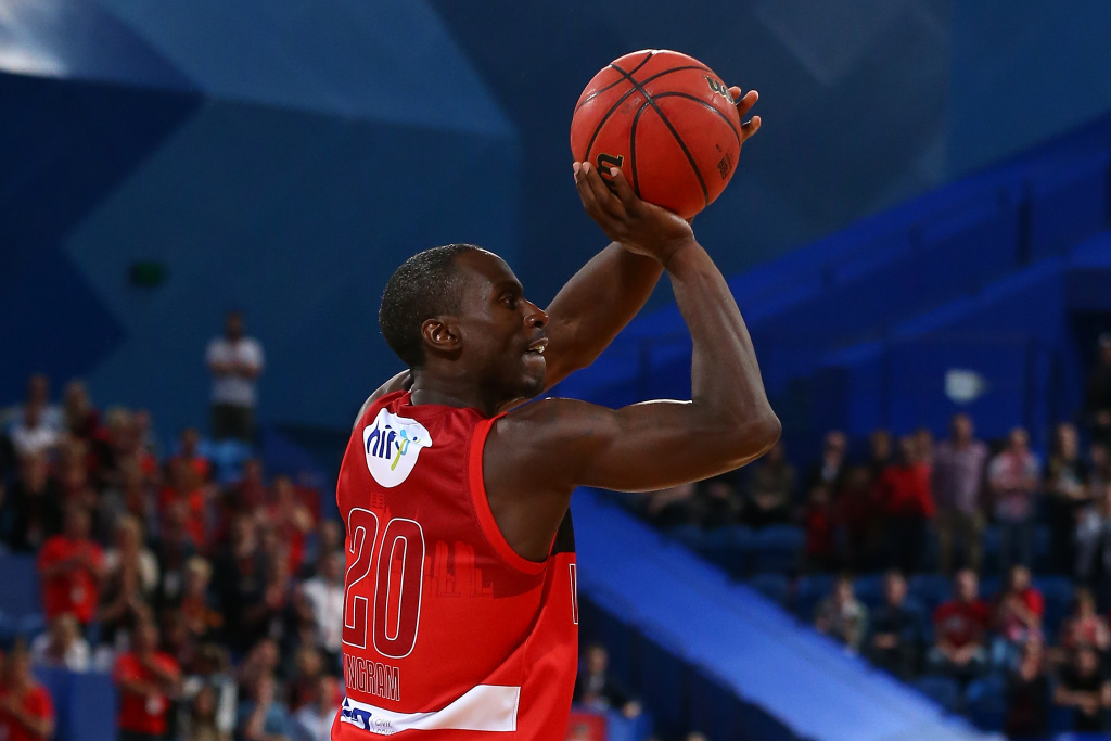 Andre Ingram of the Wildcats shoots a three pointer during the round three NBL match between the Perth Wildcats and the Illawarra Hawks at Perth Arena on October 21, 2016 in Perth, Australia. Ingram now plays for the Los Angeles Lakers.
