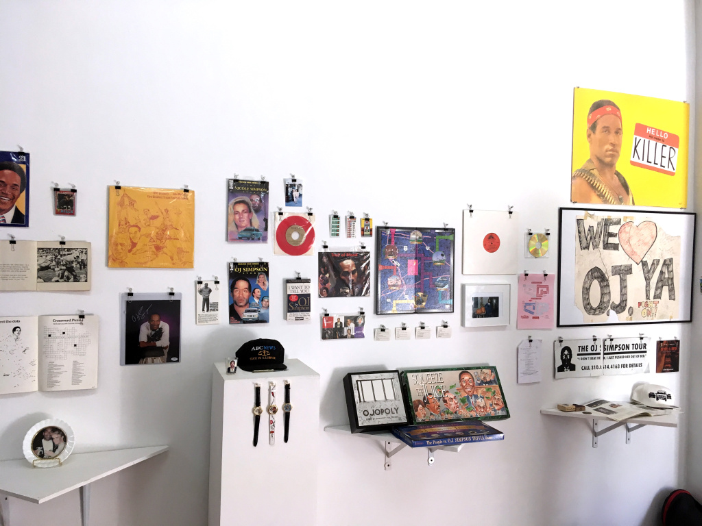 An exhibition of O.J. Simpson memorabilia at Coagula Curatorial in L.A.'s Chinatown.