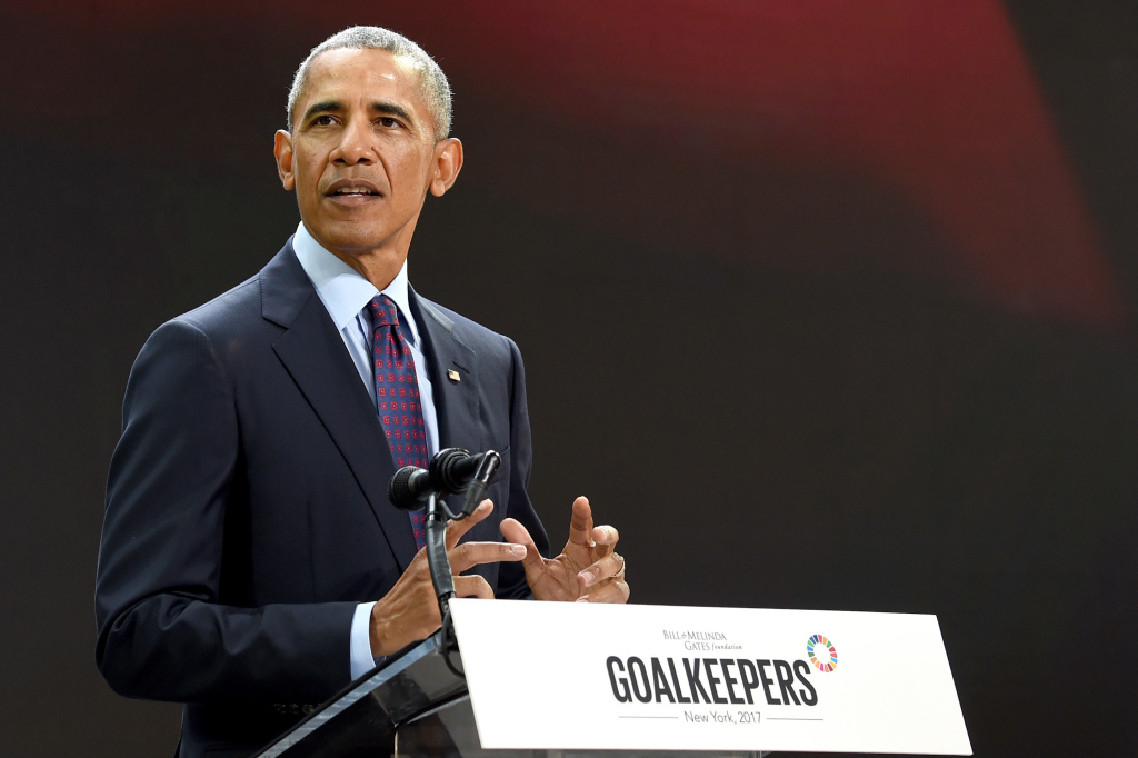 Former President Barack Obama speaks Wednesday at the Goalkeepers 2017 conference, at New York City's Jazz at Lincoln Center.
