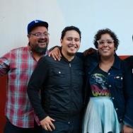 La Santa Cecilia pause during a soundcheck to chat with Offramp producer Taylor Orci.