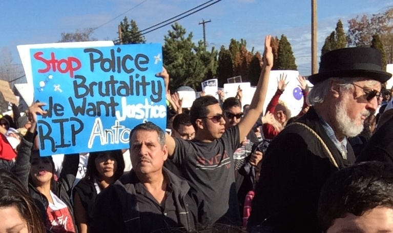 Demonstrators in Pasco, WA, took to the streets to protest the shooting death of Antonio Zambrano-Montes by police