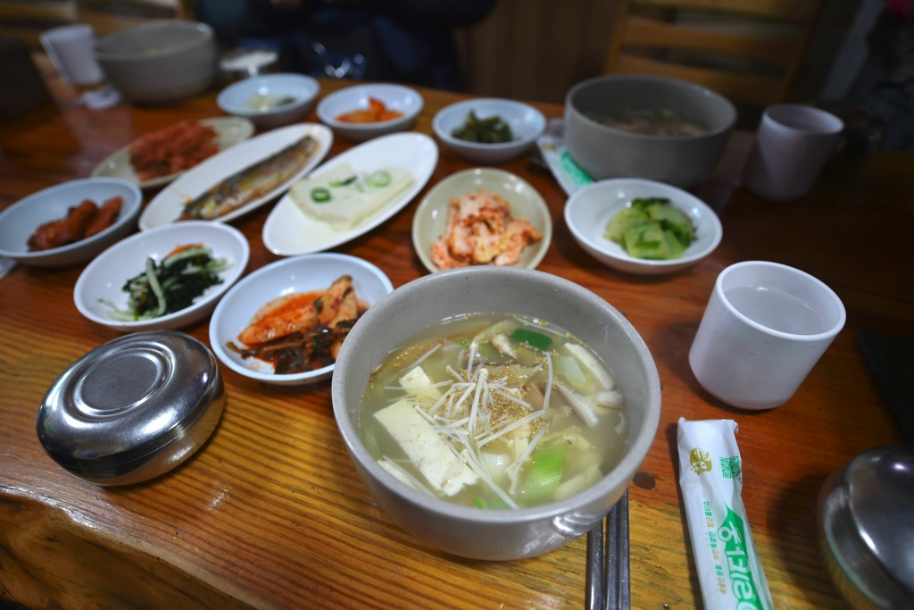 This picture taken on February 4, 2017 shows dried pollack hangover soup at a restaurant in Hoenggye town, near the venue for the opening and closing ceremonies for the upcoming PyeongChang 2018 Winter Olympic Games in Pyeongchang.