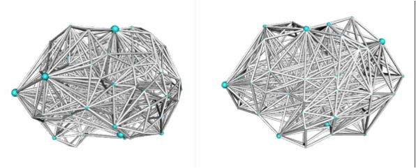 Side view of the brain showing network connections in healthy controls (left) and BDD (right). The BDD brains have, on average, greater local connections for each region. In the figure, the size of each region (represented by blue spheres) corresponds to the clustering coefficient magnitude, a measure of how strongly interconnected neighboring nodes are to each other.