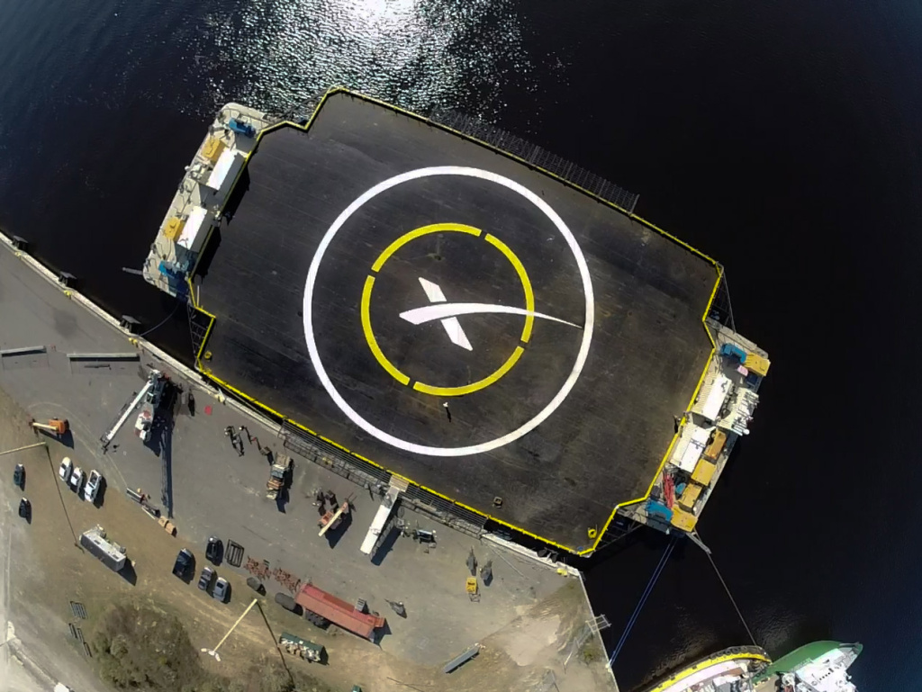 The landing pad for SpaceX's Falcon 9 rocket. It is a drone ship that is autonomously propelled by thrusters. It will not be anchored during the landing.