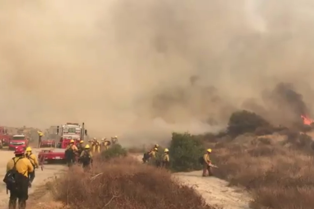 Brush fire near Carbon Canyon