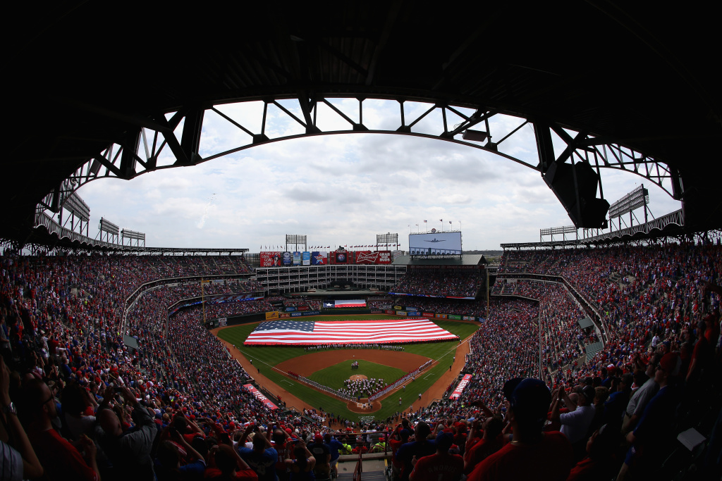 A general view before the MLB Opening Day game between the Philadelphia Phillies and the Texas Rangers at Globe Life Park in Arlington on March 31, 2014 in Arlington, Texas.